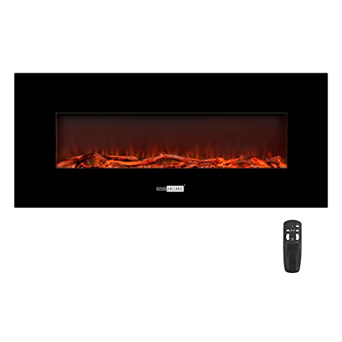 VIVOHOME 50.4 Inch 120V 750W / 1500W 2 Heat Modes Wall Mounted Electric Fireplace Heater with Remote Controller for Indoor Use (Heaters Electric Wall Fireplace)