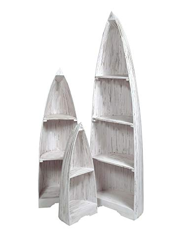 Sunset Trading CC-CAB1920LD-WW Shabby Chic Cottage Boat Bookcases, Nesting, ()
