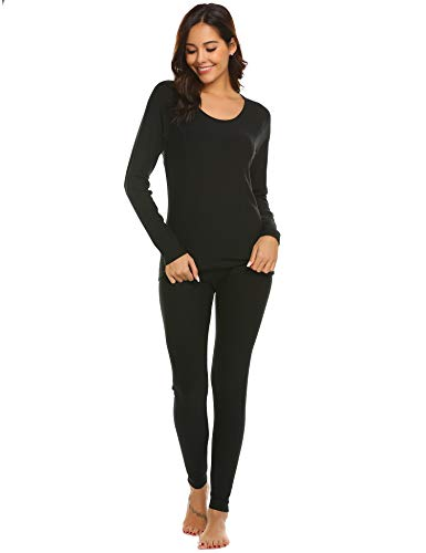 Ekouaer Women's Long Thermal Underwear Base Layer Leggings Long Underwear Pajama -