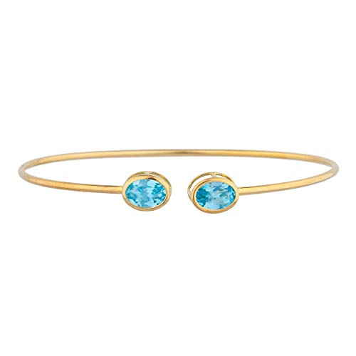 (3 Ct Blue Topaz Oval Bezel Bangle Bracelet 14Kt Yellow Gold Rose Gold Silver)