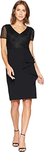 Adrianna Dress Papell Black (Adrianna Papell Women's Classy Subtle Beaded Cocktail Dress with Ruffle Skirt, Black 6)