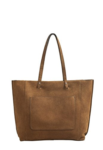 Mango Women's Suede Shopper Bag, Khaki, One Size