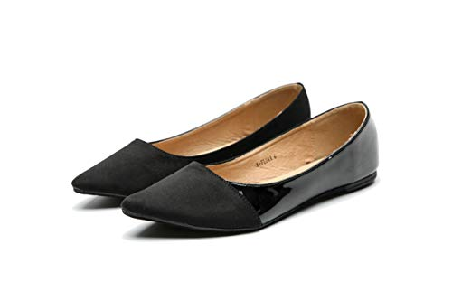 Mila Lady Flora Stylish Patent Leather Pointed Toe Comfort Slip On Ballet Dressy Flats Shoes for Women,Black 8.5 Black Stylish Women Leather