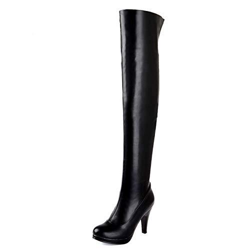 HAOLIEQUAN Größe 32-48 Frauen Hohen Absatz Über Knie Stiefel Damen Reiten Lange Schneestiefel Warme Winter Fersen Schuhe Schuhe