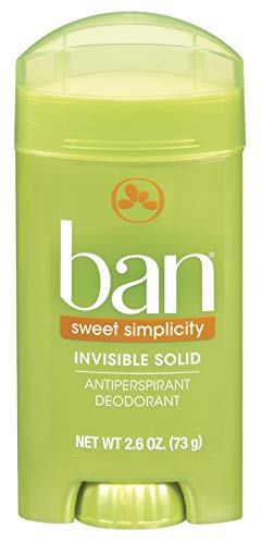 Ban Antiperspirant Deodorant, Invisible Solid, Sweet Simplicity, 2.6-Ounce Bottles (Pack of 6)