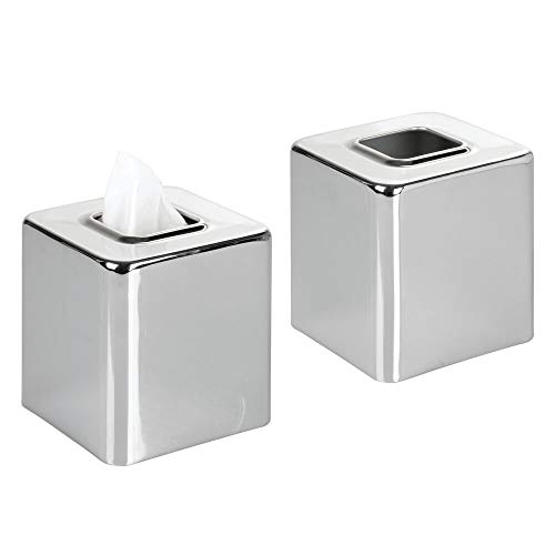 (mDesign Modern Square Metal Paper Facial Tissue Box Cover Holder for Bathroom Vanity Countertops, Bedroom Dressers, Night Stands, Desks and Tables - 2 Pack - Chrome)