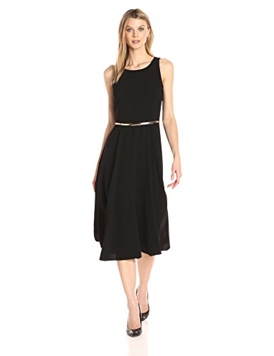 Julian Taylor Women's Solid Fit and Flare Belted Dress, Black, 12