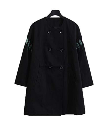 Donna A Lunghezza Jshfd Abbigliamento Giacca Nuova Lunga Vento Media Di Dimensioni Cotone Nero Grandi Foglia CH4wH5
