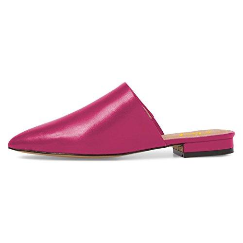 Fsj Mujeres Cómodo Deslizamiento En Los Planos Sandalias De Mule Apuntadas Mule Sandalia Deslizadores Zapatos Tamaño 4-15 Us Hot Pink