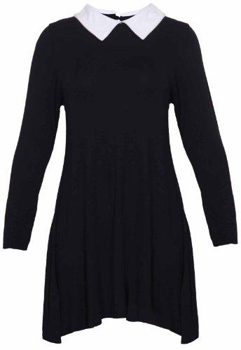 longues Contraste vas pan mini grande SWING femme la Col robe manches en court trou de serrure peter taille arrire extensible Femmes Noir uni 6pxSqwA