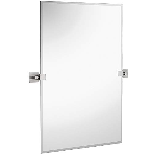 Hamilton Hills Large Squared Modern Pivot Rectangle Mirror with Brushed Chrome Wall Anchors | Silver Backed Adjustable Moving & Tilting Wall Mirror | 20