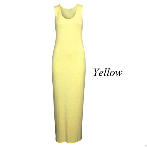 Vestito Giallo Basic Blissretail Donna Senza Maniche XqPTdRw