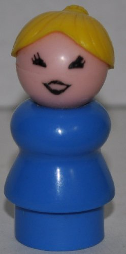Vintage Little People School Mother Woman (Blonde Plastic Hair, & Blue Plastic Base) (Peg Style) - Replacement Figure - Classic Fisher Price Collectible Figures - Loose Out Of Package & Print (OOP) - Zoo Circus Ark Pet Castle