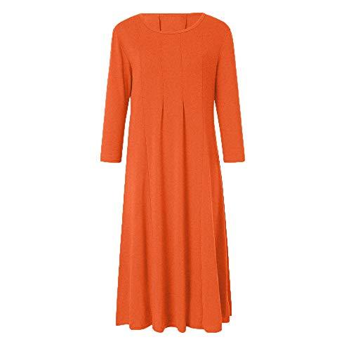 Manches Unie Et Dress Fit Simple Casual Slim Orange Style Quotidienne Femmes Robes Casual 4 DEELIN Couleur Grosses 3 Vacances Dames Soldes Long RfpwzRx6q
