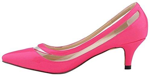 Calaier Damen Cahot Stiletto 4CM Stiletto Cahot Schlüpfen Pumps Schuhe Rot c7bb60