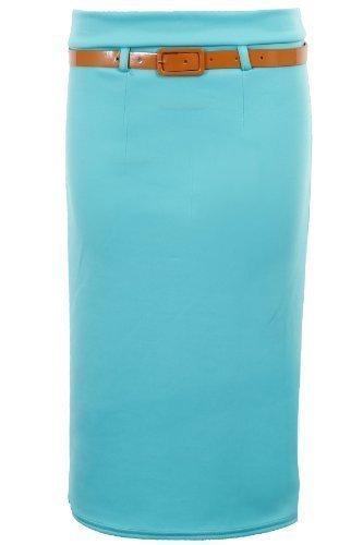 FANTASIA BOUTIQUE Nuevo De Mujer Con cinturón Negro Moca Piedra Vestido ceñido Con Cinturón Para Dama Falda De Tubo Azul Claro