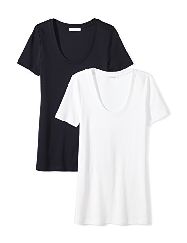 Midweight 100% Supima Cotton Rib Knit Short-Sleeve Scoop Neck T-Shirt, 2-Pack, XL, White/Navy (100% Cotton Womens Tee)