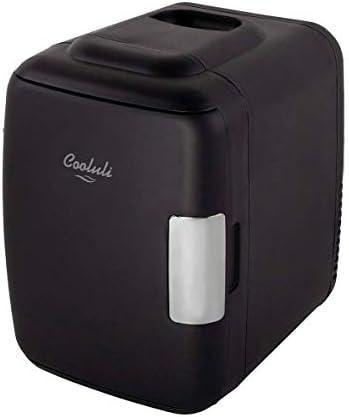 Cooluli Classic Black 4 Liter Compact Cooler Warmer Mini Fridge with AC/DC/USB Power – Great for Bedroom, Office, Car, Dorm – Portable Makeup Skincare Fridge