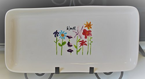 Rae Dunn Bloom. in Script letters with Sring Easter Flowers 14 inch Serving Dinner Dessert Appetizer Platter Tray. By Magenta.