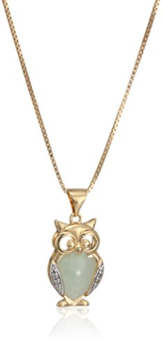 18k Yellow Gold Over Sterling Silver Green Jade and Diamond Accent Owl Pendant Necklace, 18