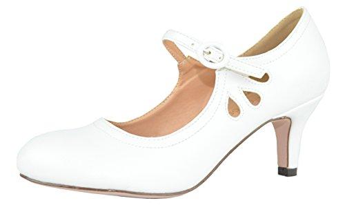Pumps Chloe Leather - Chase & Chloe Women's Kimmy-21 Regular, Mary Jane Boots (8 B(M) US, White PU Low)