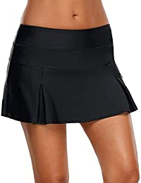 Womens Mid Waist A Line Solid Pleated Swim Skirt Tankini Swimsuit Bottom