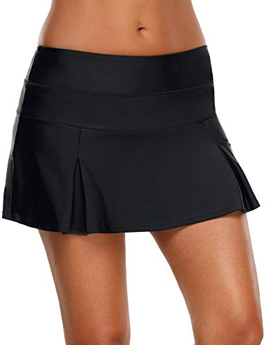 Vetinee Womens Black Mid Waist A Line Solid Pleated Swim Skirt Tankini Swimsuit Bottom Medium (Fits US 8 - US 10)