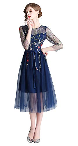 Womens Floral Embroidered Sheer Mesh Casual A-line Dress Blue ()