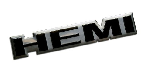 HEMI BLACK on Highly Polished SILVER Real Aluminum Auto Emblem Badge Nameplate for Dodge Coronet Charger Dart Super Bee Charger Daytona Challenger Plymouth Belvedere Satellite GTX Barracuda Road Runner Superbird Monteverdi Hai 450 66 67 68 69 70 71 1966 1967 1968 1969 1970 1971