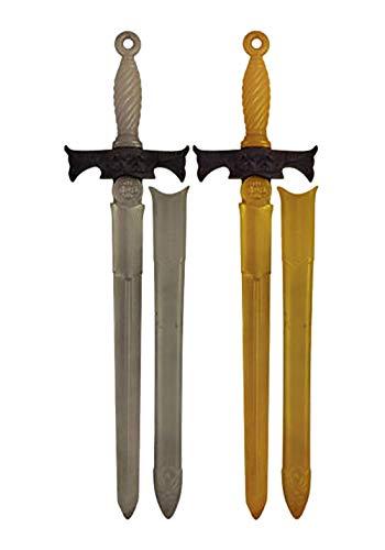 Rimi Hanger Kids 2 Assorted Plastic Toy Sword with Handguard Childrens 66cm Sword Fancy Dress Costume Accessory One Size (66 cm)
