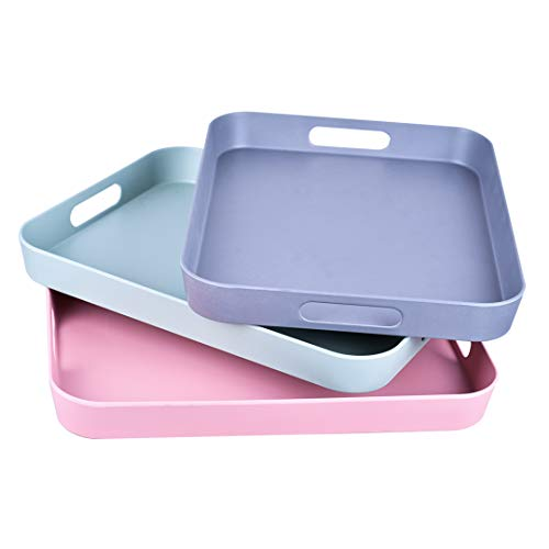 Serving Tray Bamboo Fiber Melamine Serving Trays with Handle Modern Plastic Food and Drink Tray for Parties Coffee Table Home Storage 3-Pack (Melamine Tray With Handles)