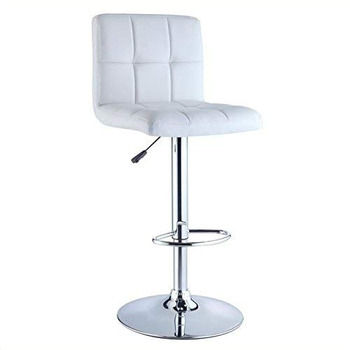 (Powell Quilted Faux Leather and Chrome Adjustable Height Bar Stool, White)