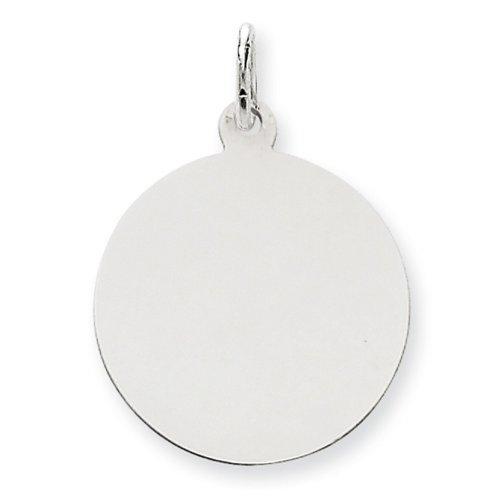 Icecarats Créatrice De Bijoux En Or 14K Blanc Ordinaire 0,013 Jauge Ronde Charme De Disque Gravable