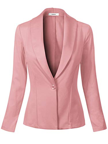 MixMatchy Women's Casual Long Sleeve Single Button Ladies Office Blazer Dusty Pink S