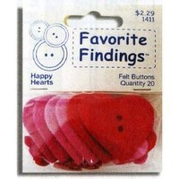 Favorite Findings Felt Happy Hearts Button