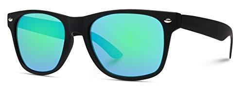 WearMe Pro - Premium Horn Rimmed Style Glasses Matte Frame Mirrored Lens Sunglasses