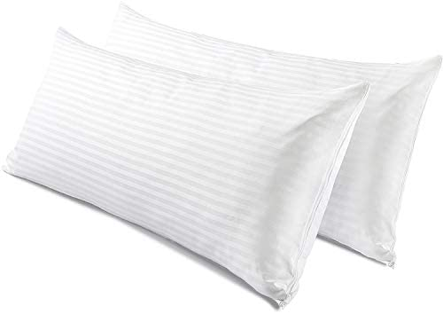 MMSD 2 Pack Body Pillow Protectors 20x55 Inches Life Time Replacement 100% Cotton Sateen High Thread Count 400 Style Zippered White Hotel Quality Covers Cases: Amazon.es: Hogar