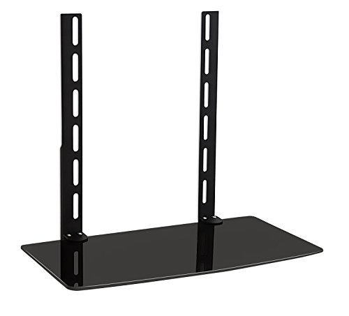 (Mount-It TV Wall Mount Shelf Bracket Under TV for Cable Box, DVD Player, Stereo AV Components Shelf,Black)