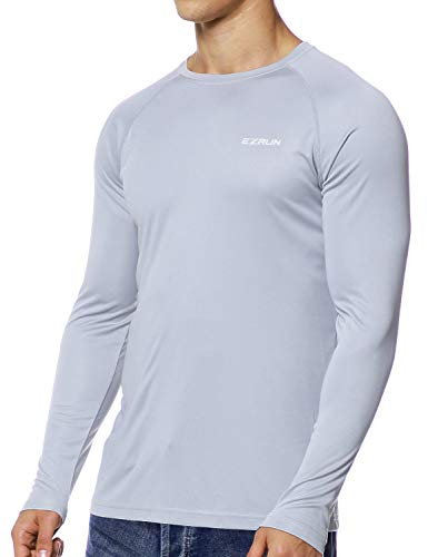 Men's UPF 50+ UV Sun Protection Outdoor Long Sleeve Running Fishing Shirts for Men(Long-Grey,L)