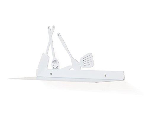 Danya B. White Metal Kitchen Utility Shelf with Kitchen Utensils Design For Sale