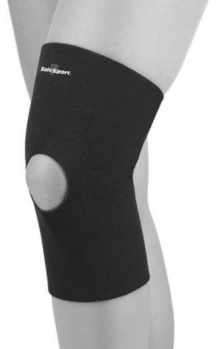 FLA Orthopedics FL37-373MDNVY SAFE-T-SPORT Standard Neoprene Knee Sleeve with Open Patella - Size- Medium Neoprene Patella Knee Sleeves