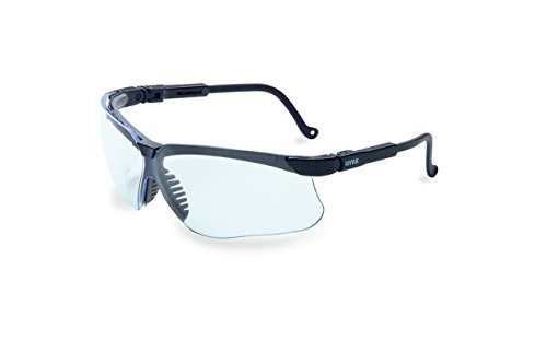- Uvex by Honeywell Genesis Safety Glasses, Black Frame with Clear Lens & HydroShield Anti-Fog Coating (S3200HS) (Renewed)