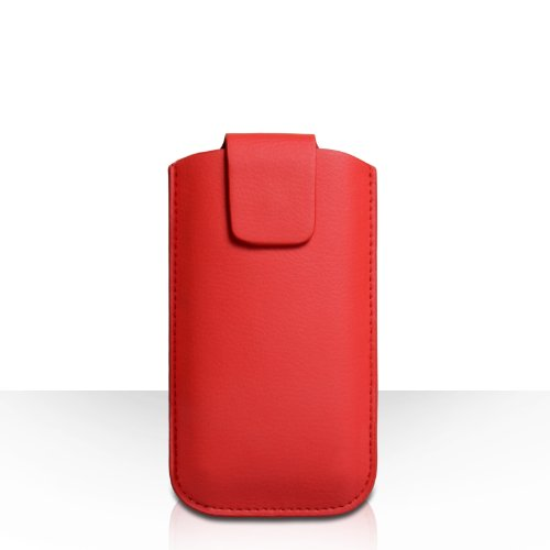 Yousave Accessories Huawei Ascend G6 Case Red Lichee Leather Pouch Cover