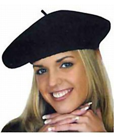 Jacobson Hat Company Women's Wool Beret, Black, (French Costume)