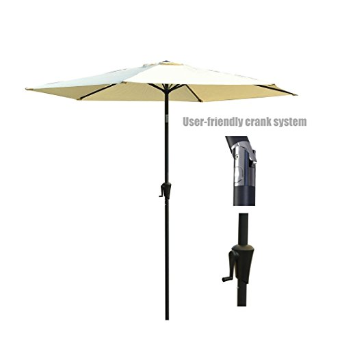 New Patio Style Umbrella 9ft Aluminum Pole UV Blocking Outdoor Durable Anti fade Durable Polyester Construction - Tilt And Hand Crank #Creamy White/979 (Fortunoff Outdoor Furniture Cushions)