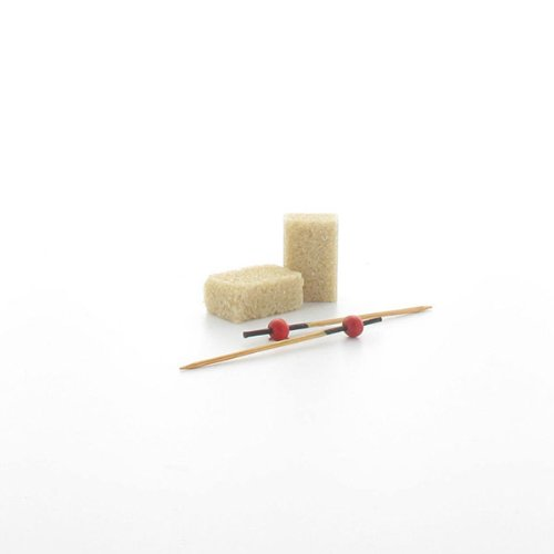 "PackNWood 209BBKITA ""Kita'' Bamboo Pick with 1 Red Bead & Black End - 2.8'' - 2000 per case"