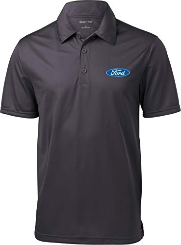 (Ford Oval Pocket Print Textured Polo, Iron Grey XL)