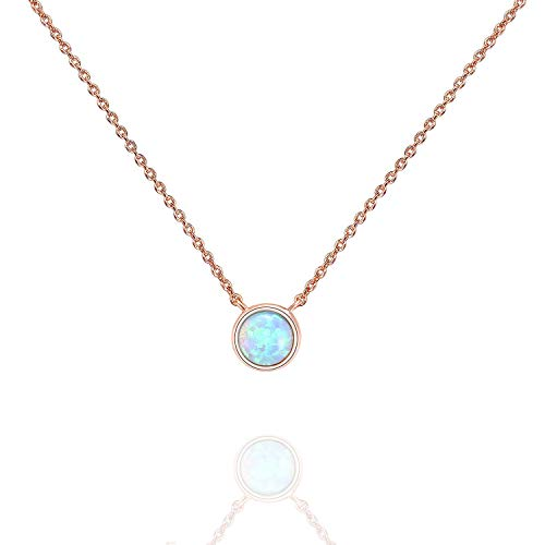 PAVOI 14K Rose Gold Plated Round Created White Opal Necklace | Opal Necklaces for Women ()
