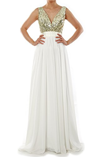 MACloth Women V Neck Sequin Long Prom Dress Wedding Party Formal Evening Gown Burgunderrot 8XgI2Z