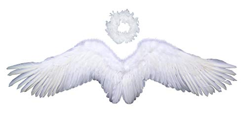 FashionWings (TM White Wide Spread Costume Feather Angel Wings Halo Adult Unisex -